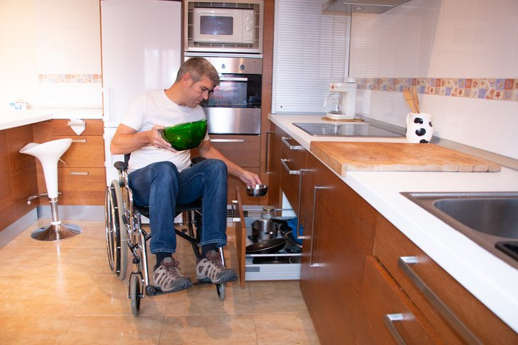 Accessible kitchen with low countertops