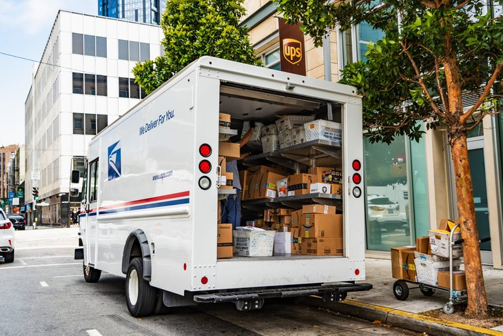 Packages in a U.S. Postal Service truck