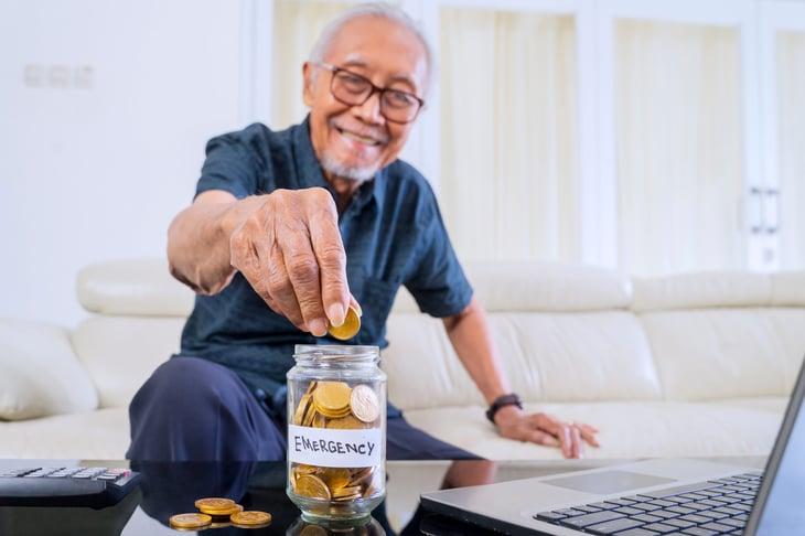senior man saving for emergency fund