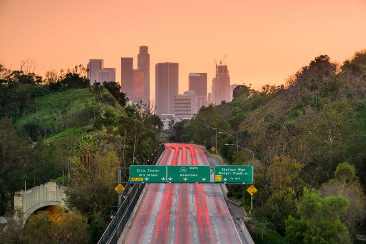 Highway traffic in Los Angeles, California
