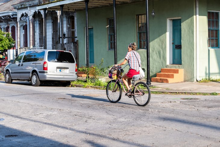 woman on bicycle bike in New Orleans, Louisiana