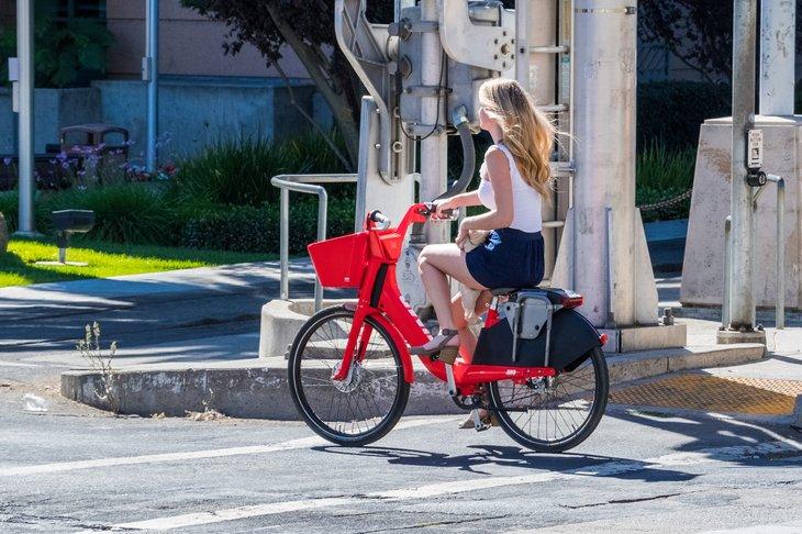 woman on electric bicycle bike