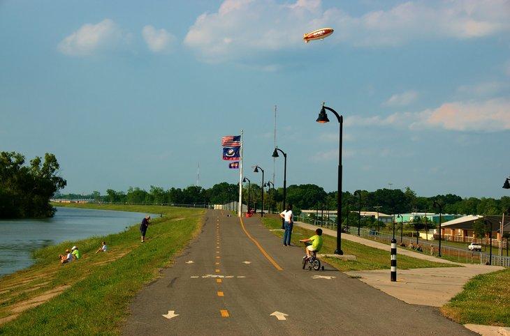 child on bicycle in Baton Rouge, Louisiana