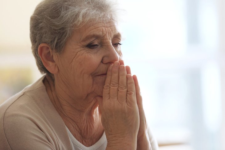 Senior woman filled with regret