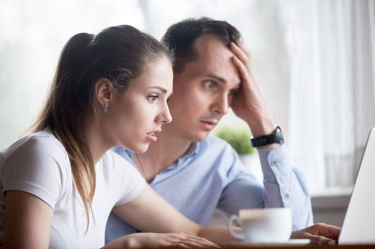 Worried young couple
