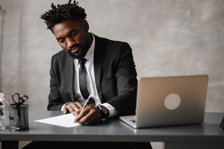 Investor at his desk