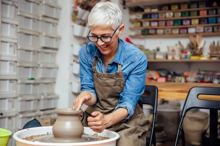 Woman doing pottery