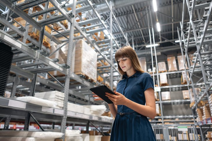 Woman in a wholesale warehouse