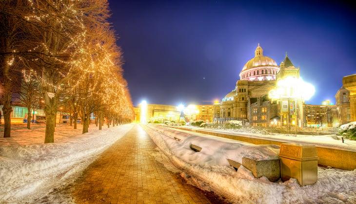 Boston, Mass. on a winter night.