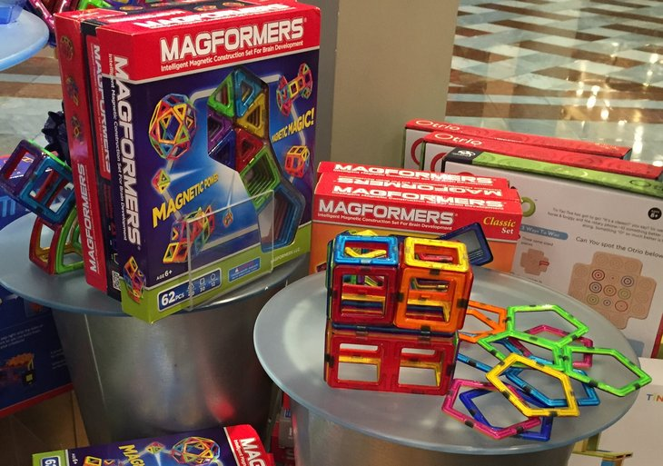 Magformers are building sets with geometric-shaped pieces with magnets.