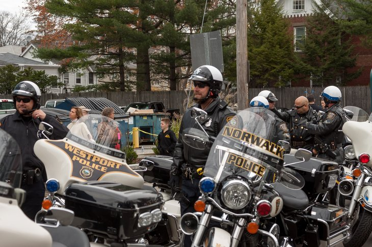 Police on motorcycles in Connecticut