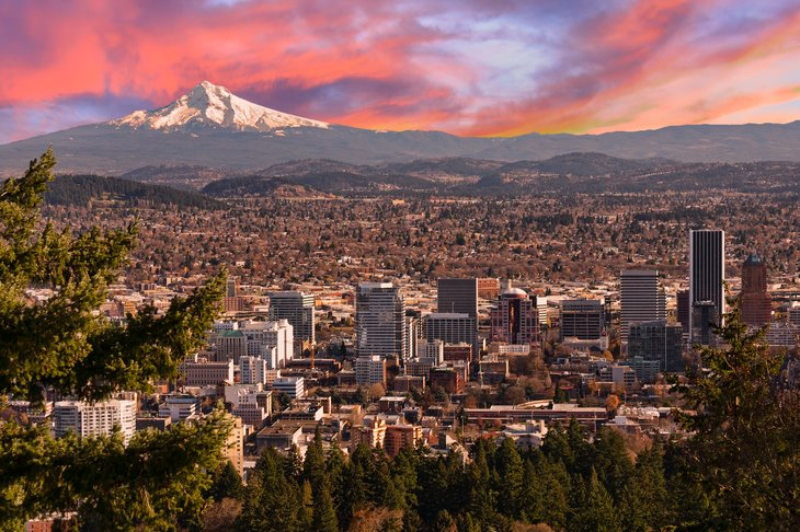 Aerial view of Portland with Mount Hood in the background.