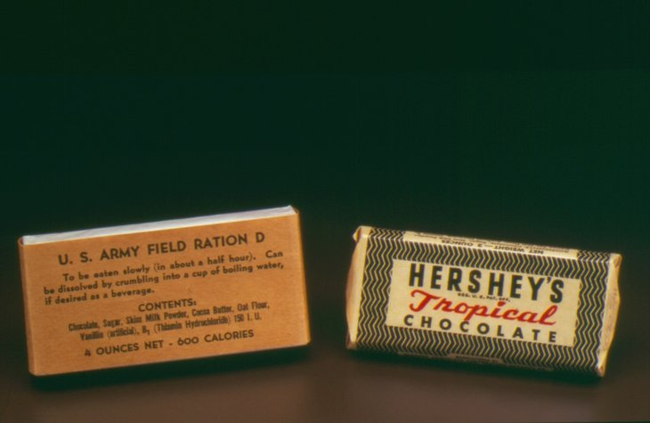 Hershey's ration bars provided for U.S. troops during World War II.