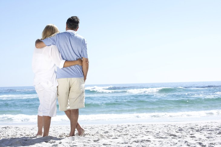 Happy couple in retirement on the beach
