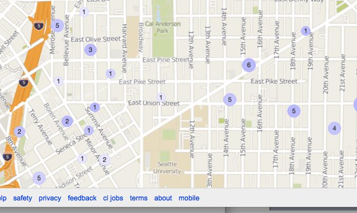 Screen shot of rentals from Craigslist