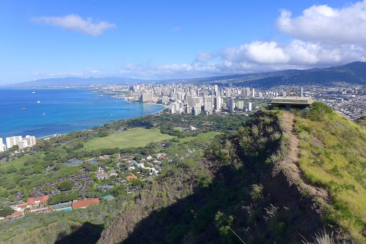 The view of Honolulu from atop Diamond Head.