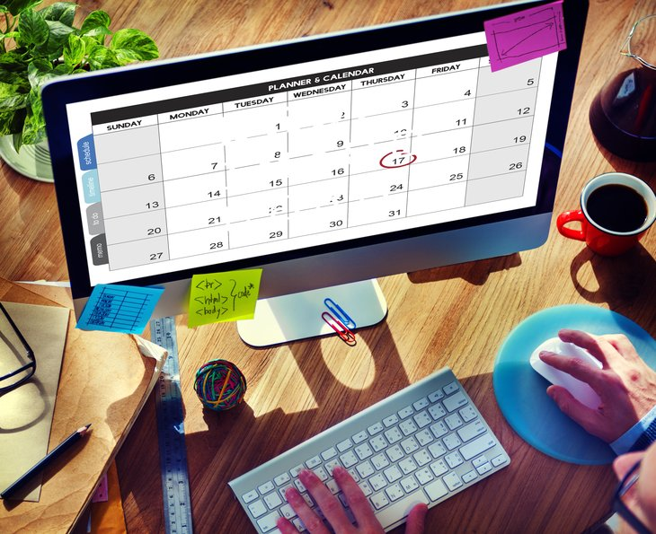 calendar on a computer