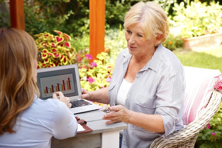 financial planner working with an older woman