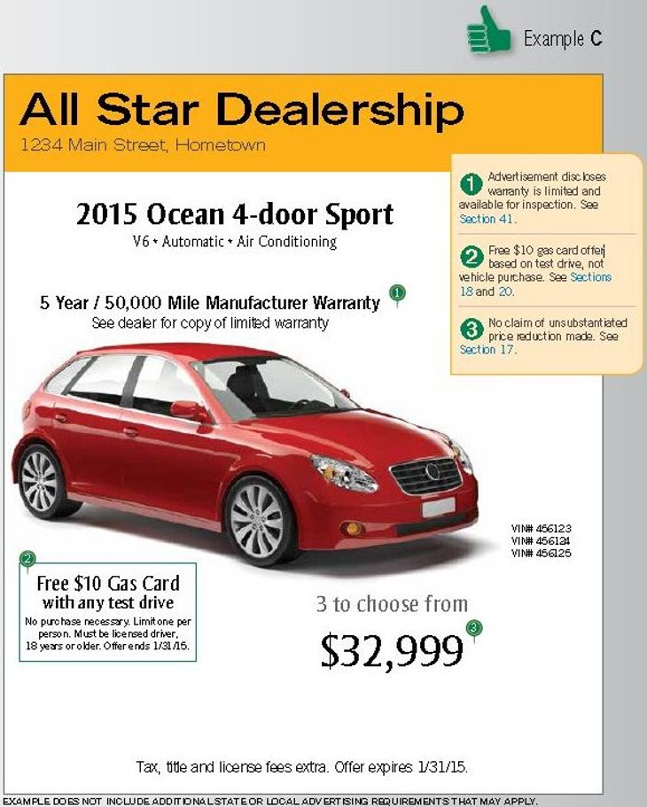 An example of car ad that follows FTC rules, according to the National Automobile Dealers Association