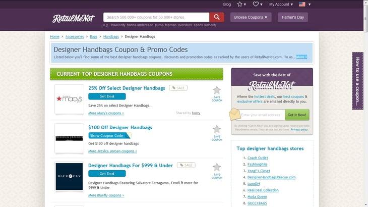Screenshot: retailmenot.com