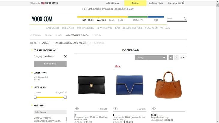 Screenshot: yoox.com