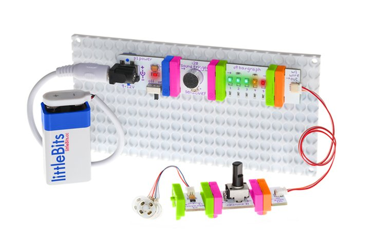 littleBits modular circuit boards blink, twist, buzz and light up.