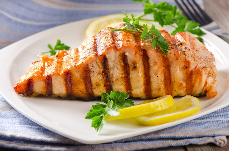 Grilled salmon on a dinner plate