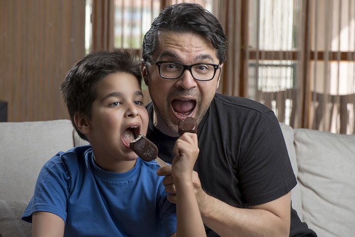Father and son ice cream